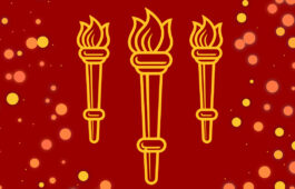 Gold outlines of USC torches on red backdrop