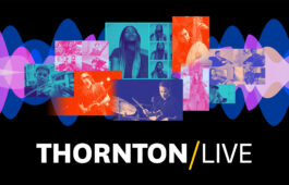 "Colorful images of musicians and performers on a black backdrop with text: ""Thornton / LIVE"""