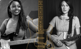 Side by side black and white images of Ari O'Neal and Molly Miller holding guitars, with a drawing of a guitar in the center