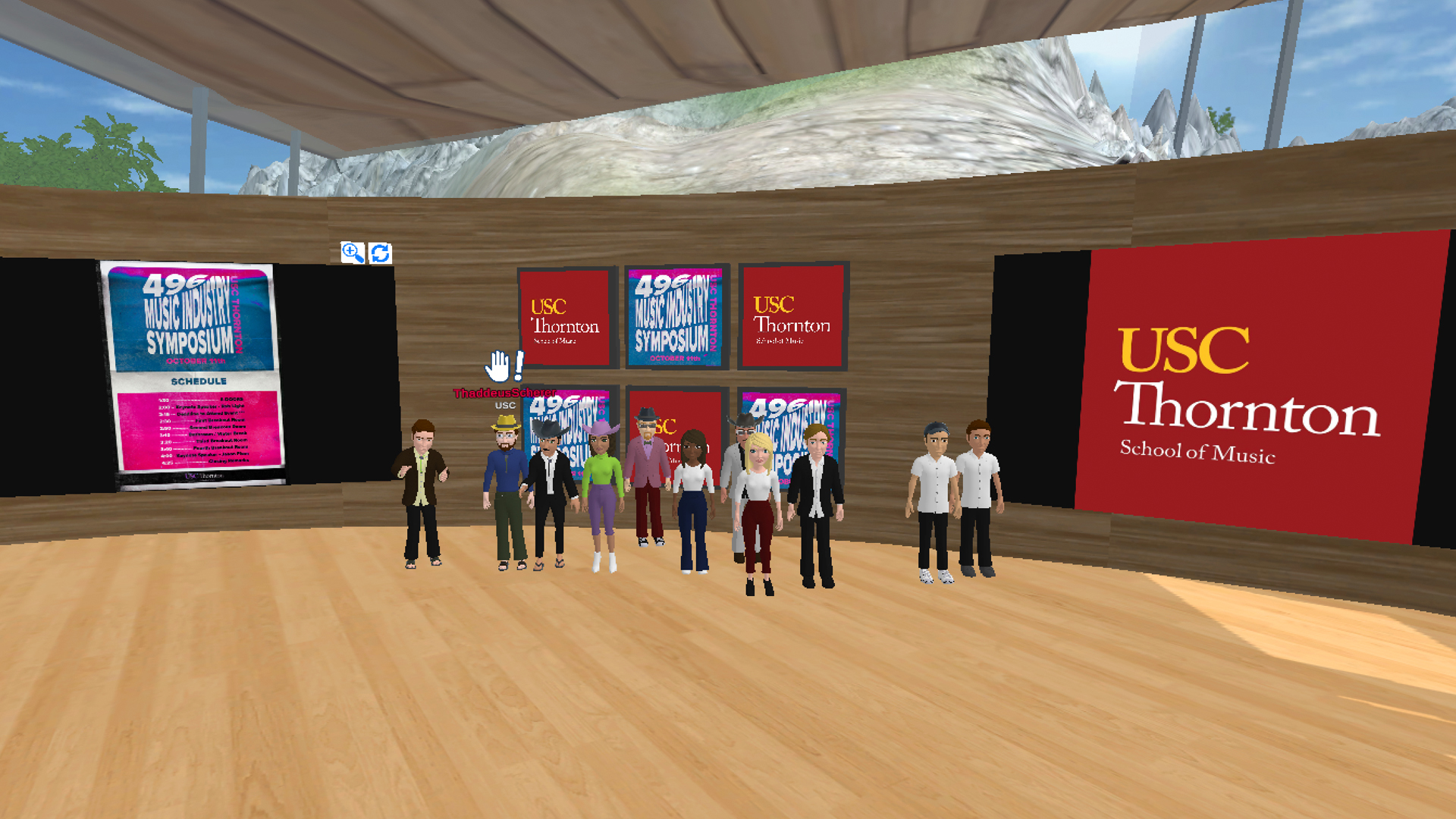 A group of animated avatars stand in a virtual space with animated screens showing the USC Thornton logo