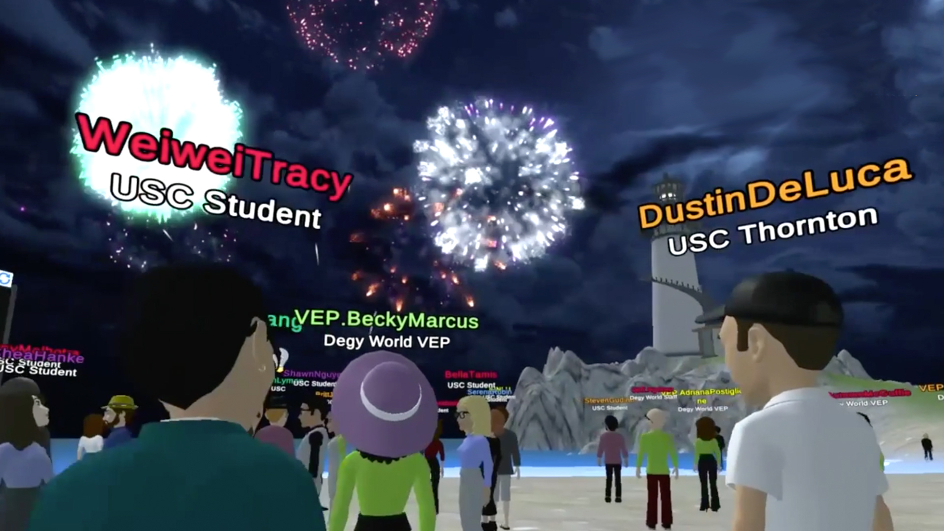 A group of virtual avatars stand together watching an animated fireworks display