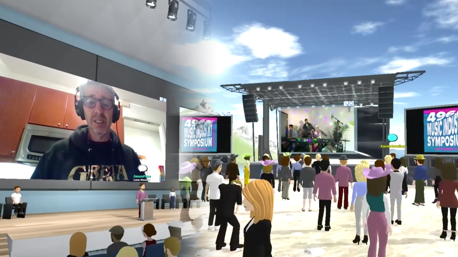 A composite image shows an animated concert video with virtual avatars watching a show, beside a virtual conference room