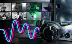 Graphic image featuring tiles of people on Zoom with a large headset and colorful line work
