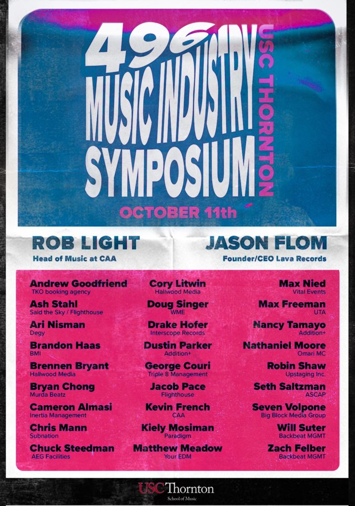 A flyer for the Music Industry Symposium lists names of guest speakers