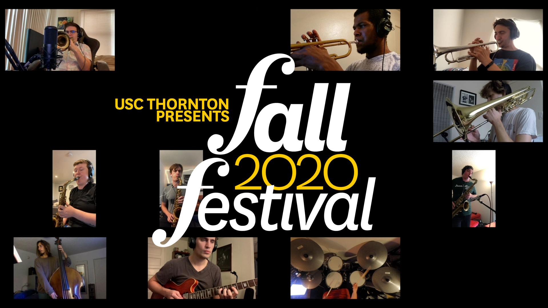 """Tiled images of jazz a musicians with a logo reading """"Fall 2020 Festival"""""""
