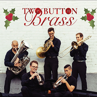 five brass musicians surrounded by mistletoe