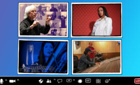 An illustration of a Zoom screen with four images of music artists