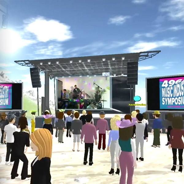 A virtual concert stage with students virtual avatars in the audience