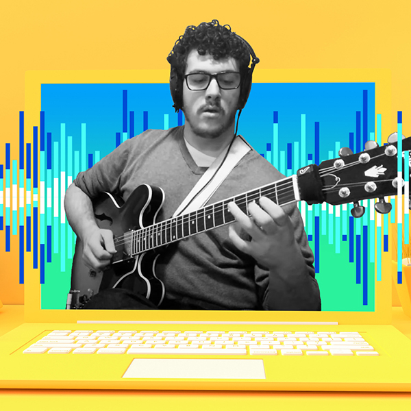 A graphic featuring a guitarist wearing headphones appearing inside of a bright yellow laptop screen