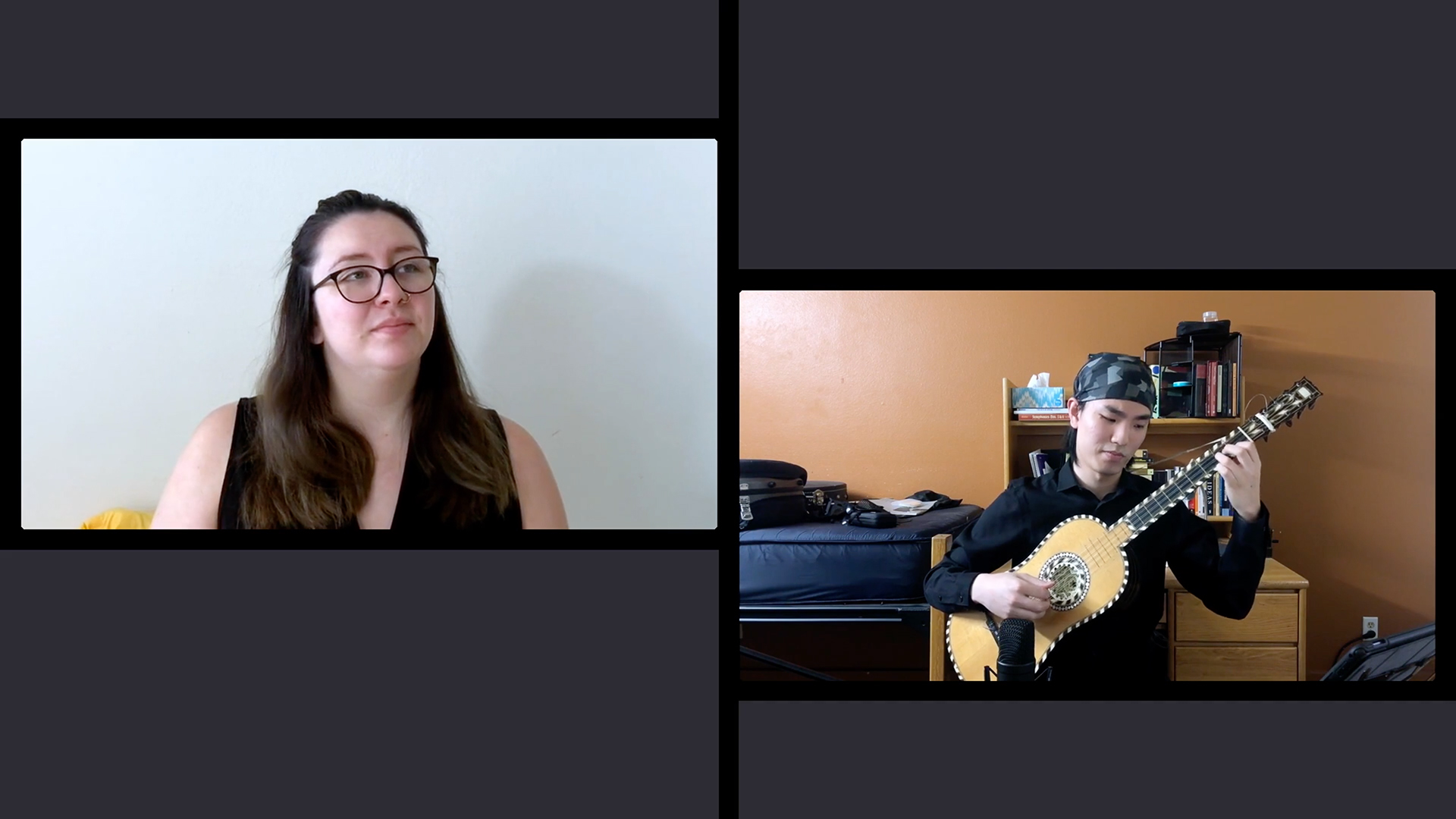 Tiled videos of a vocalist and Robert Wang playing the continuo