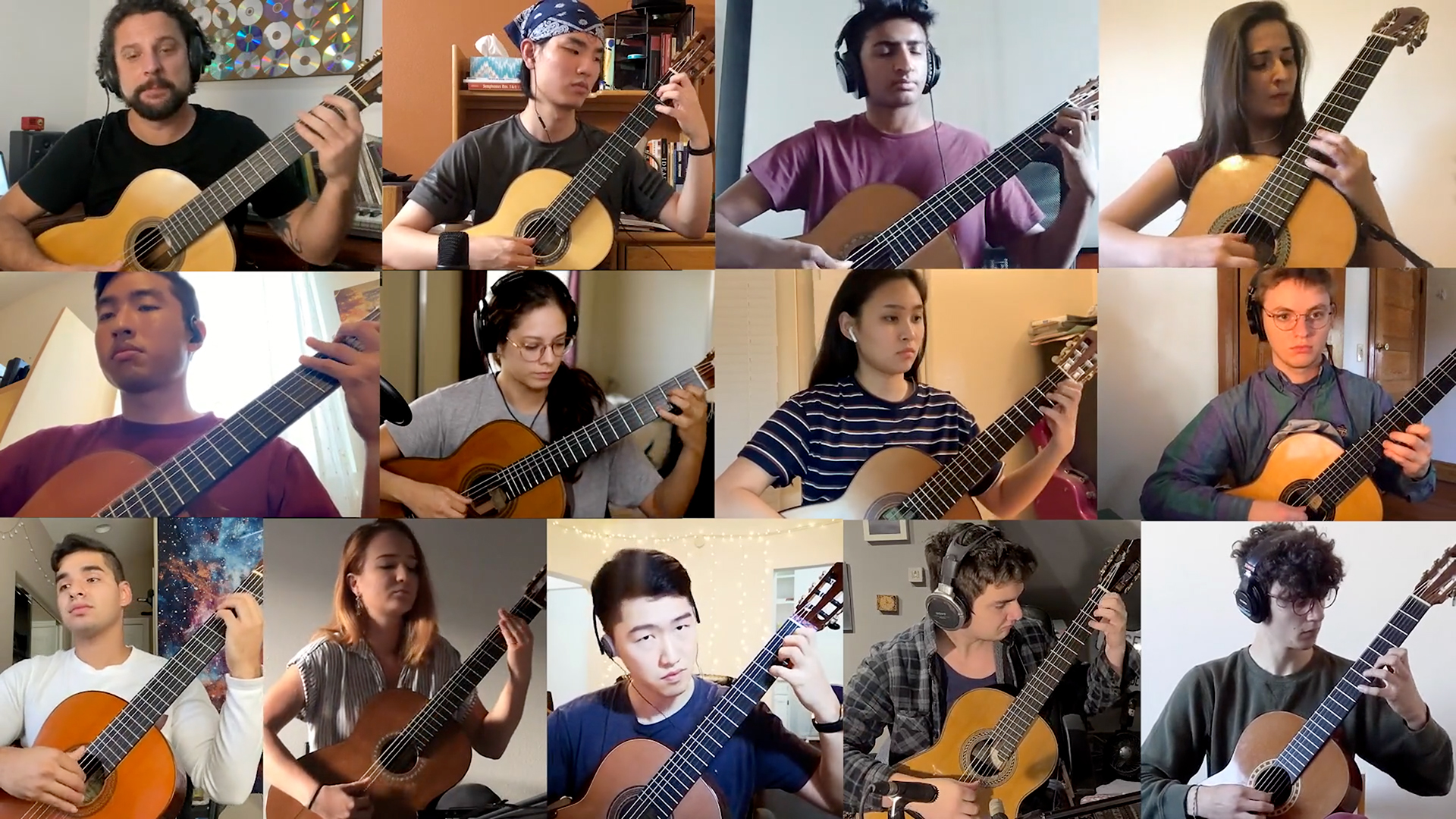 Tiled images of classical guitarist playing together