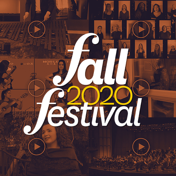 Tiled images of concert videos with a logo reading Fall 2020 Festival