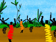 Illustration of African tribe dancing