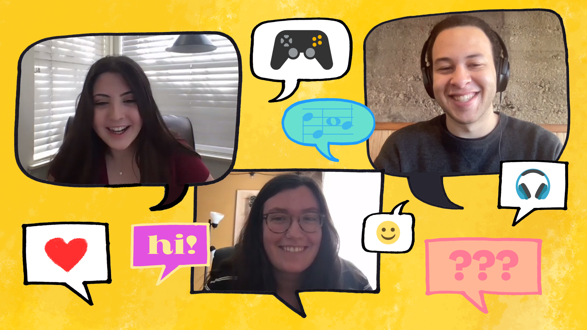 Images of three students smiling, surrounded by colorful illustrations of speech bubbles and emojis