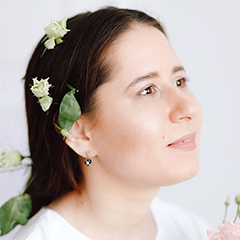 Adeliia Faizullina pictured with flowers in their hair