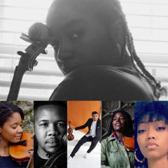 A collage of portraits of performers, some holding string instruments