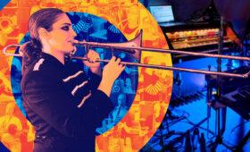 Trombonist playing instrument