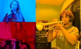 Jazz students, trumpeter and vocalist, perform from home
