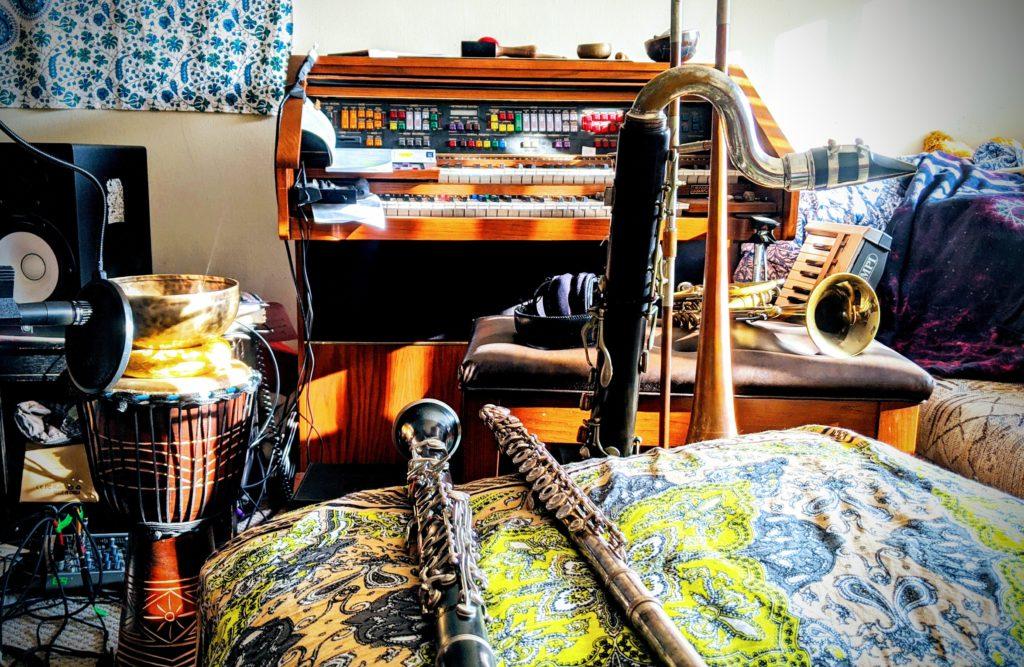 Wind instruments indoors