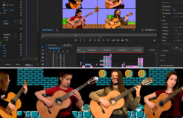 Classical guitarist plays instrument in front of video game