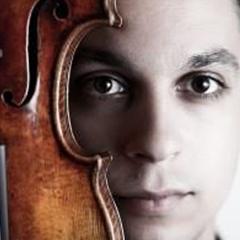 Portrait of Etienne Gara holding a violin