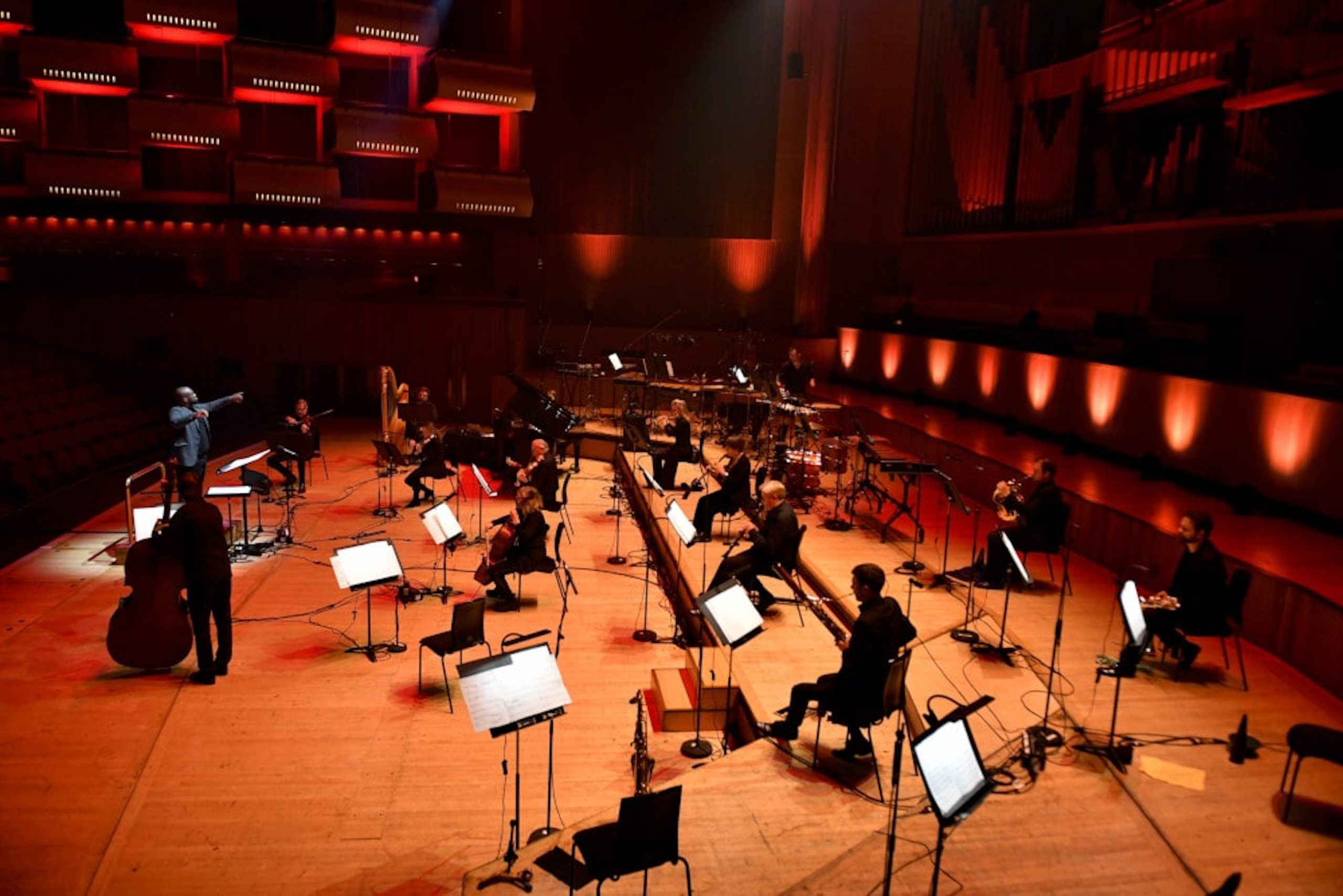 Vimbayi Kaziboni conducts a symphony in a concert hall