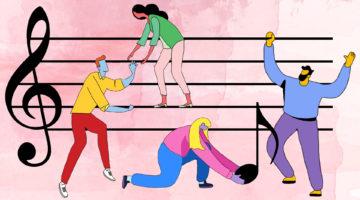 Illustration of people building music together