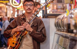 Guitarist Cal Kevany at Grand Central Market in downtown Los Angeles