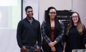 Group of Music Industry students presenting in a Thornton classroom