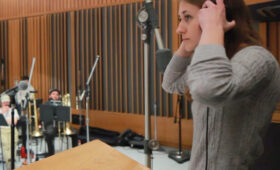 Screen scoring student conducts at Capitol Music