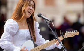 USC Thornton student Michele Lu performs at 2021 New Student Convocation Ceremony on University Park Campus.