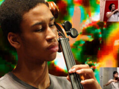 Quenton Blache playing cello with visual effect of light behind him