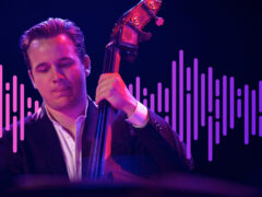 Photo of jazz bassist with sound wave illustration